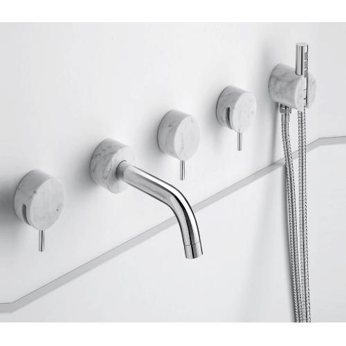 Paco Jaanson Marmo Range 5 Hole Wall Mounted Bath Filler With