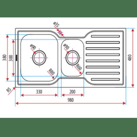 Everhard Squareline 980 Kitchen Sink 1 & 1/2 Bowl and Drainer